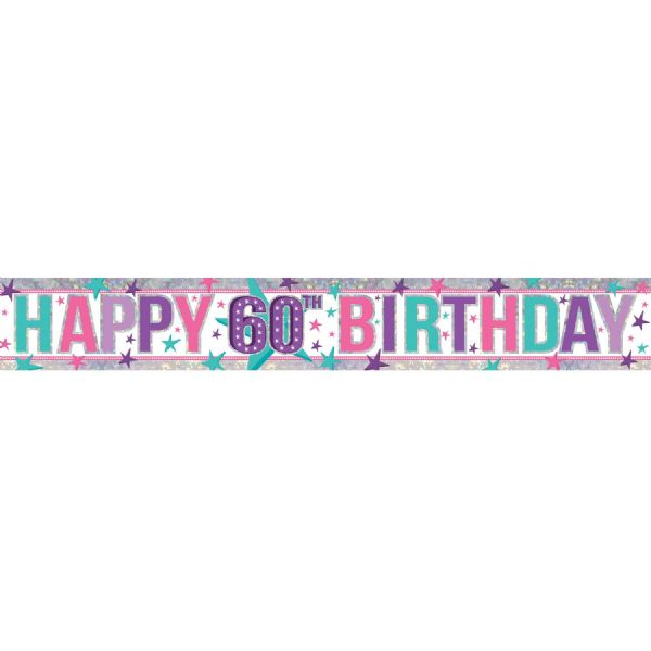 Holographic Pink Happy 60th Birthday Foil Banner